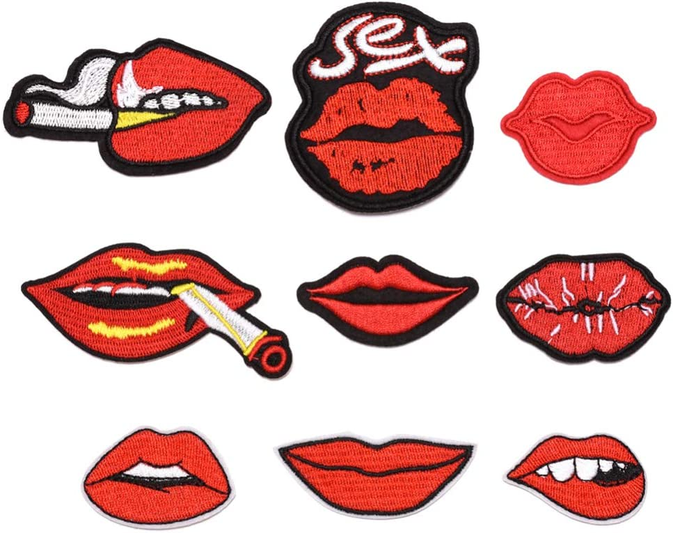 Exceart 9pcs Kiss Lips Patches Iron on Patches Embroidered Sew on Patches Applique for Clothes Jackets T-Shirt Backpack