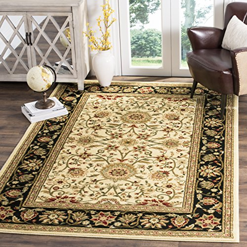 Safavieh Lyndhurst Collection LNH212B Traditional Oriental Ivory and Black Area Rug (6' x 9') - Ivory Rug Black Rug
