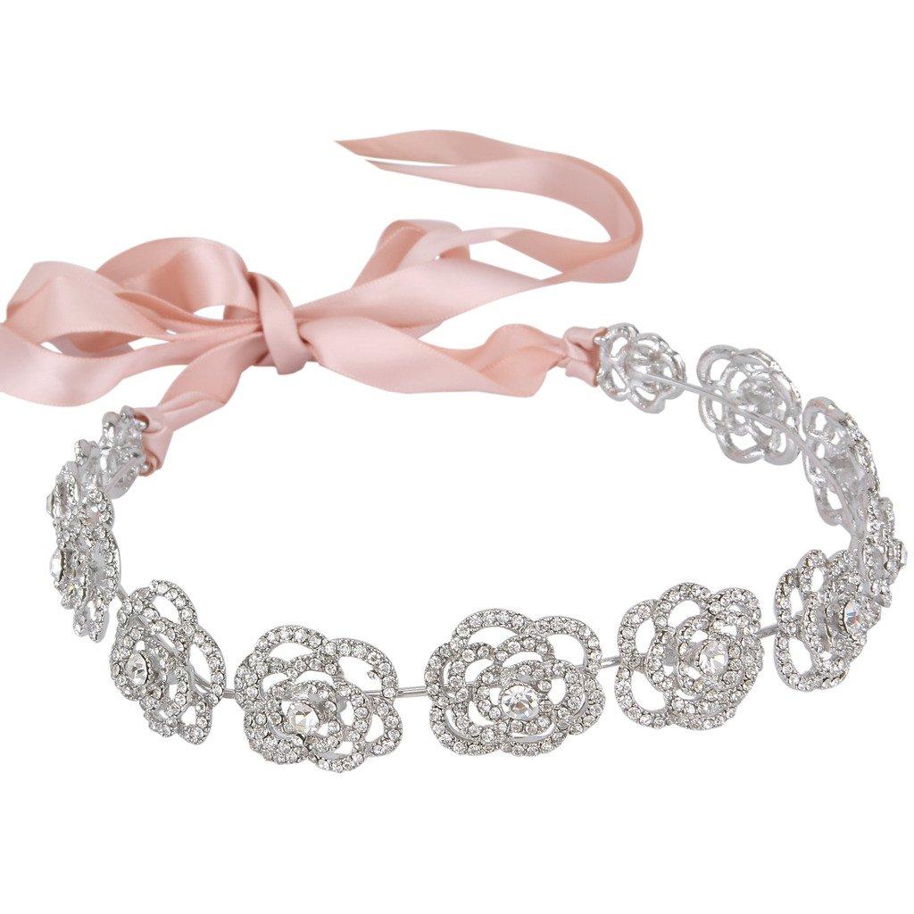 Ever Faith Austrian Crystal Bridal Hollow-Out Rose Flower Ribbon Hair Band Clear N05936-1