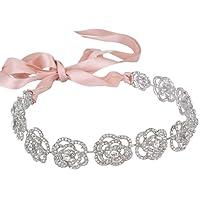 Ever Faith Austrian Crystal Bridal Hollow-Out Rose Flower Ribbon Hair Band Clear