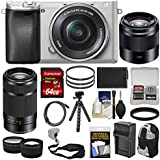Sony Alpha A6300 4K Wi-Fi Digital Camera & 16-50mm (Silver) 55-210mm & 50mm Lenses + 64GB Card + Case + Battery & Charger + Flex Tripod + Kit