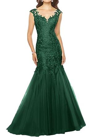 Promgirl House Damen 2017 Hochwertig Spitze Mermaid Abendkleider  Ballkleider Hochzeitskleider Lang-32 Dunkelgruen