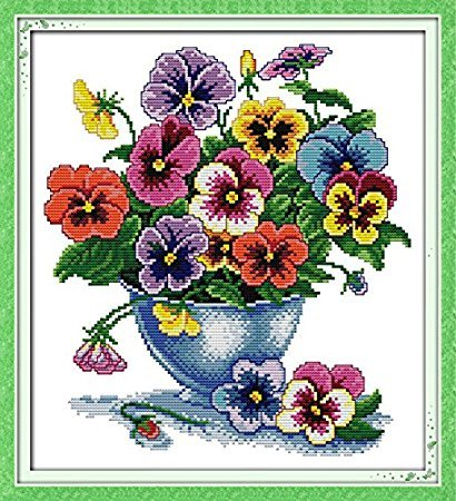 Stamped Cross Stitch Kits Six Color Flower 11 Count 41cm x 4