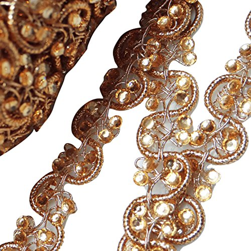 Beaded Sari - Indian Ribbon Decorative Craft Supply 1.2 Cm Wide Beaded Sari Ribbon By The Yard