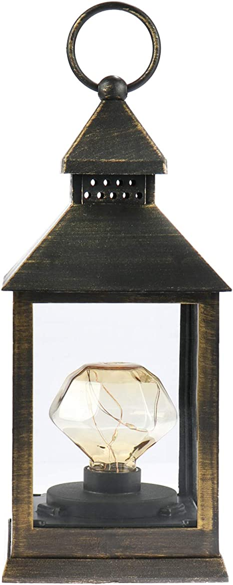 LED Beleuchtung zu Weihnachten Batteriebetriebene Elektro-Laterne als Weihnachtsdekoration 03 St/ück - schwarz//goldfarben rund com-four/® 3X LED Laterne mit Timer-Funktion