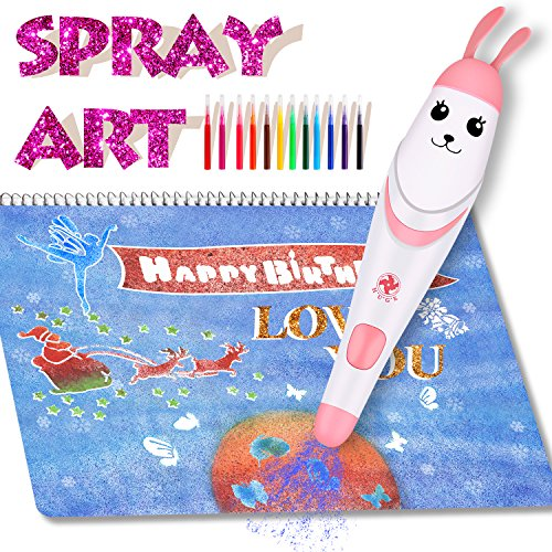 Airbrush Set for Kids, Electric Washable Air Marker Sprayer Magic Painting Crafts Creative Educational Toys for Boys, Girls and Your Love (Pink)