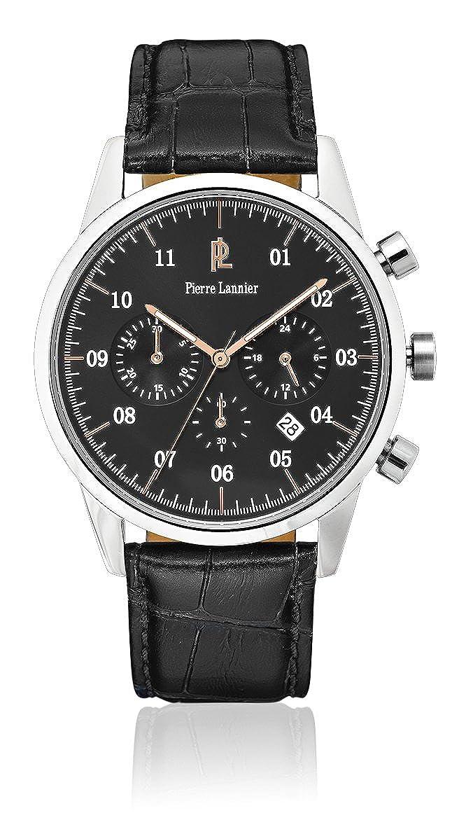 Pierre Lannier-223D183, Week End Vintage-Reloj de pulsera con cronógrafo para hombre, color Gris de cuarzo, brazalete de cuero, color negro: Amazon.es: ...