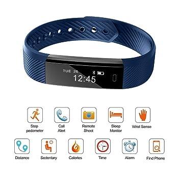 Montre Connectée Intelligent Bracelet Sport Cardiofréquencemètre Bluetooth avec Musique Caméra Contrôle Alarme Notifications Compteur du Pas
