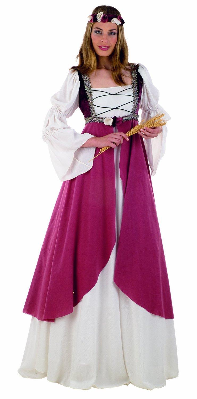 MultiColoreeee XS Miss Clarisa - Costume Medievale - Pezzo Unico & Fascia Floreale per Capo - M
