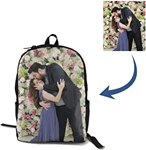 Custom Photo Backpack for Women Men, Cute Personalized Kid's School bag for Girls & Boys, Customizable Printing Your Picture bookbag Travel Casual Daypack Laptop Backpacks