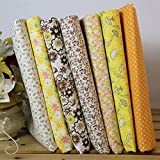 quilt fabric clearance - starlit 7Pcs Cotton Fabric Flower Polka Dot Bundle DIY Patchwork Quilt Cloth