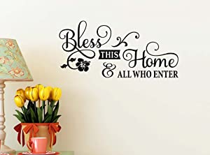 Bless This Home and All who Enter 23 x 11 Vinyl Wall Quote Decal Sticker Welcome Home Art House Decor Cooking Kitchen Inspirational Decorative Lettering