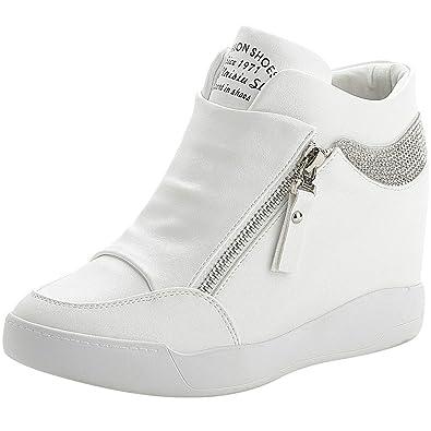 9022f43a198caa rismart Femme Talon Compensé Plateforme Bottillon Élégant Baskets Mode  Chaussures SN15018(Blanc,34 EU