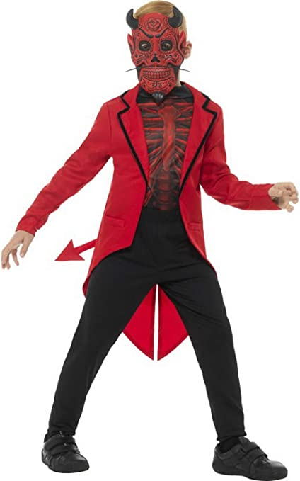 erdbeerclown – Disfraz Infantil Día de los Muertos Teufel Diavolo FRAC Camiseta y máscara, Deluxe Day of The Dead Devil, Halloween Carnaval y, 104 – 152, – , Color Rojo: Amazon.es: Juguetes y juegos