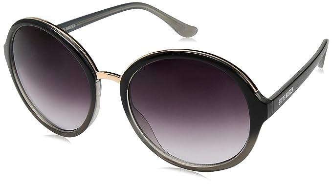 bbf4576b9928 Amazon.com: Steve Madden Women's Sm875179 Round Sunglasses, Black ...