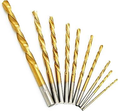 1//16-1//4 General Purpose CHEW STEEL TOOLS Twist Drill Bit Set- High Speed Steel Jobber Drill Bits Golden Oxide for Wood Plastic Alloys 10 Pcs