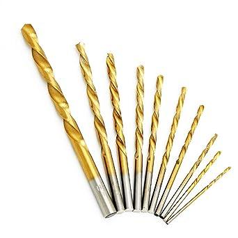 High Speed Titanium Coated Twist Drill Bits Set 10 pcs Drill Bit Set