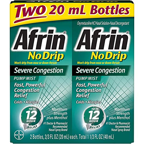 Afrin No Drip Severe Congestion - VarietySize Pack of 4 BottleS (20ml Each) (Best For Nasal Congestion)