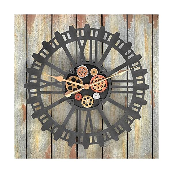 Design Toscano Synchronized Sprockets and Gears Wall Clock, Silver 3