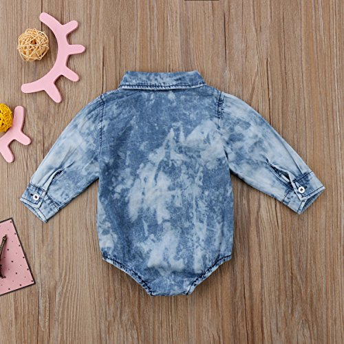 Toddler Infant Baby Boy Girl Long Sleeve Denim Romper Bodysuit One-Piece Outfit