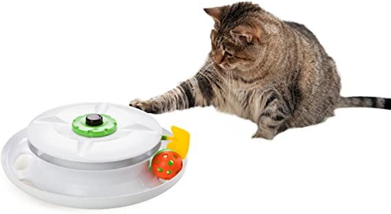 WANTi Cat Toy Interactive and Automated fun with Ball, Wand, Feather and Remote control Made in Taiwan