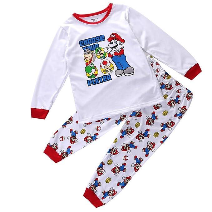 Super Mario Bros Bañador para bebé juego de pijama de manga larga para niños pijamas 2pcs