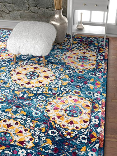 Suzani Boho 4x6 (3'11'' x 5'3'') Area Rug Garden Blue & Yellow Distressed Traditional Vintage Floral Oriental