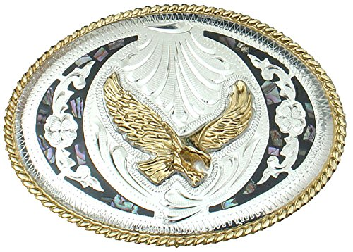 German Silver Tone and Gold Tone Belt Buckle Abalone and Flying Eagle ()