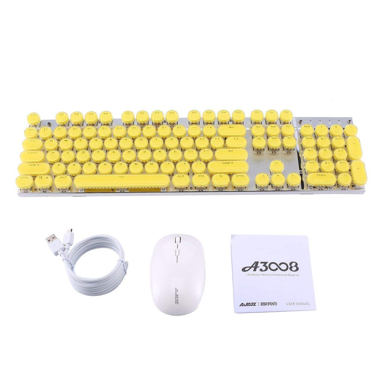 A3008 2.4G Wireless Mechanical Keyboard Gaming Keyboard Mouse Retro USB Typewriter Inspired Mechanical Keyboard by NeanTak-us