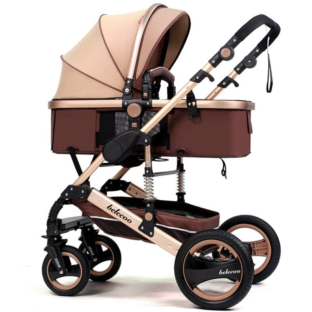 TZ Luxury Newborn Baby Foldable Anti-shock High View Carriage Infant Stroller Pushchair (golden) by Belecoo
