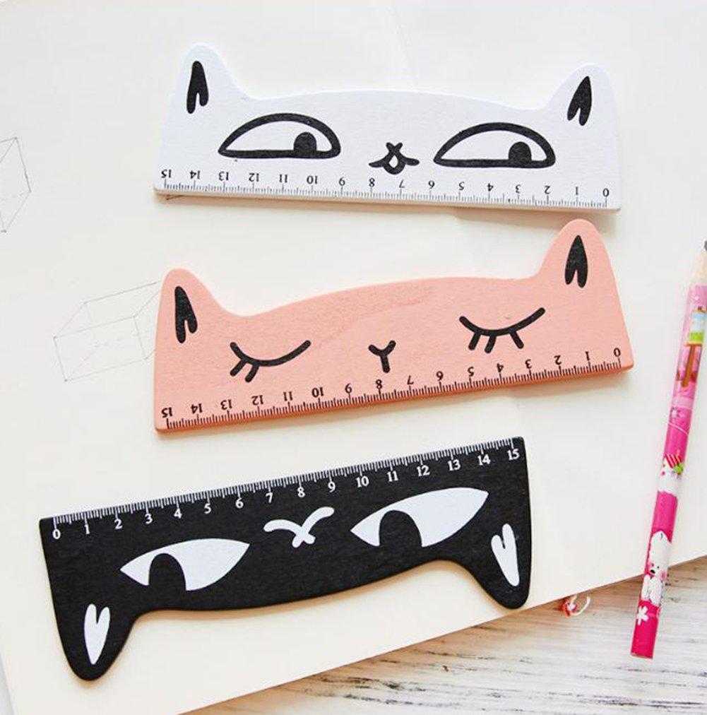 outflower 4pcs regla de estilo gatito//regla de dibujo Estudiantes regla de madera papeler/ía de modelaje Animale de dibujo animado de madera 15/cm