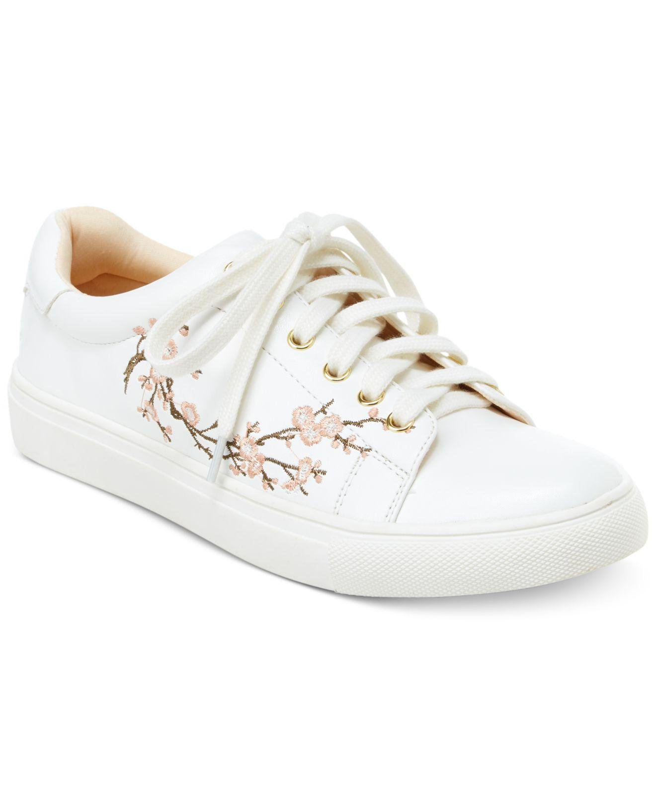 Nanette Lepore Womens Winona Leather Low Top Lace up, White/Print, Size 9.5