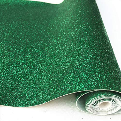 ZAIONE 8 x 53 (21cm x 135cm) Roll Sparkly Superfine Glitter Vinyl Fabric Fine Glitter PU Leather Canvas Back Material for Shoes Bag Sewing Patchwork DIY Bow Craft Applique(Bottle Green)