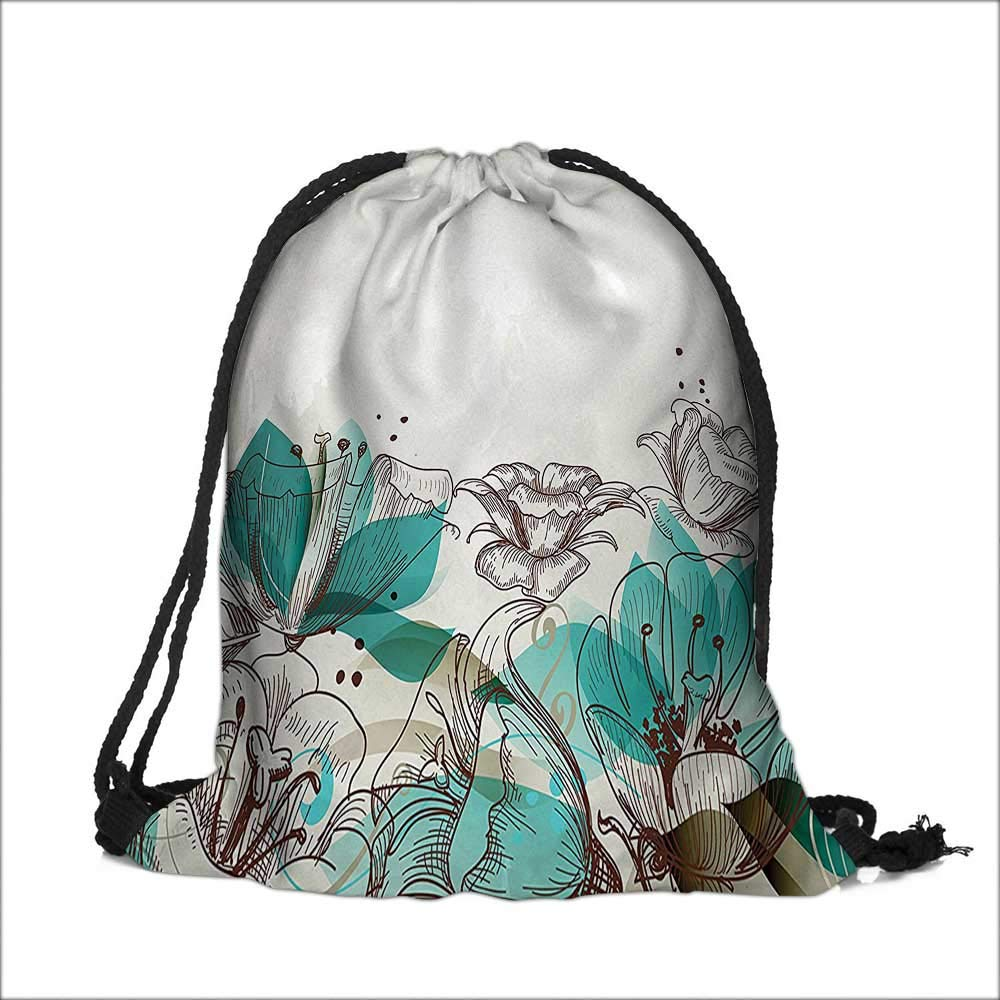 Drawstring Cotton Linen Cloth Background with Hibiscus Silhouettes Dramatic Romantic Art Teal Craft Gift Storage Pocket Bag 13''W x 18''H