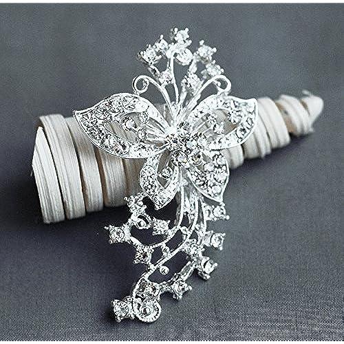 Rhinestone Brooch Embellishment Pearl Crystal Butterfly Hair Comb Tiara Shoe Clip Wedding Bouquet Brooch Cake Decoration BR157