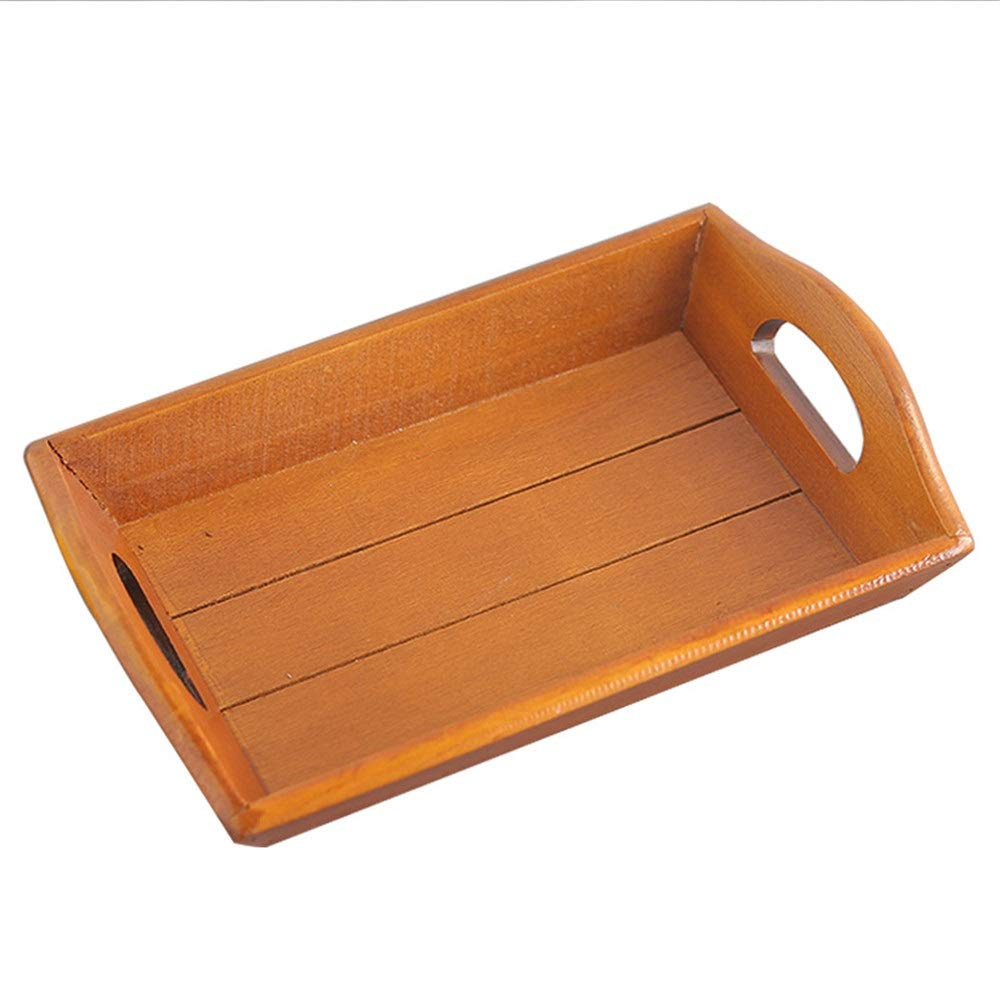 Zxcvlina-JJ Breakfast Serving Trays Creative Party Cake Snack Plate Dessert Serving Tray with Handle Dishes Japanese Style Tea Tray Classic Solid Wood Breakfast Food Cup Wood Service Tray Plates by Zxcvlina-JJ