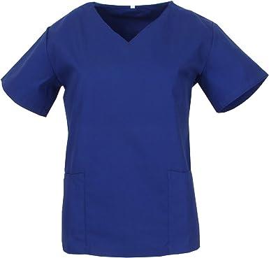 MISEMIYA - Casaca Mujer Cuello REFORMADO Manga Corta Uniforme Laboral CLINICA Hospital Limpieza Médico Enfermera - Ref.Q818: Amazon.es: Ropa y accesorios