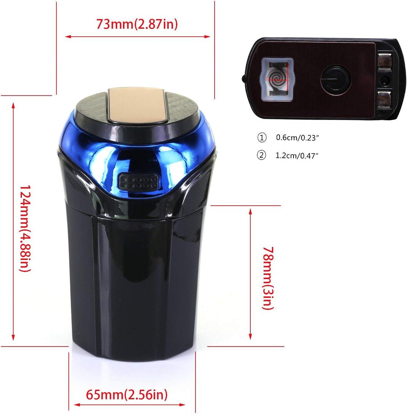 TiooDre Posacenere Auto Staccabile Accendisigari con luce LED Blu Senza Fumo per Veicolo Camion SUV Ufficio Casa