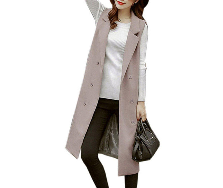 Caseminsto Black Long Vest Women 2017 Fashion Elegant Office Suits Grey M