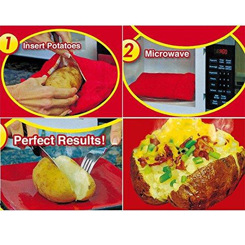 TiooDre Tatoes Bolsa para Patatas en Microondas, Bolsa de Cocina para microondas Limpiador microondas