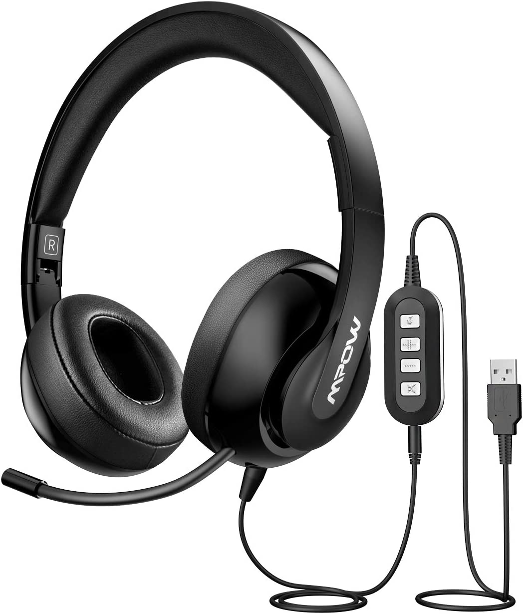 Mpow 3.5mm/USB Headsets, Foldable Computer Headset with Mute Function, PC Headphones with Retractable Microphone Noise Canceling, All Day Comfort for Meetings/Call Center/School