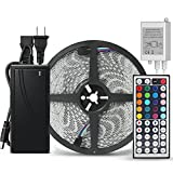 LED Strip Light, Guaiboshi 32.8ft Waterproof LED Flexible Light Strip kit, 600 LEDs SMD 5050, 24V RGB LED Tape with Power Adapter,44 Key Controller,for Home Kitchen Garden Car Bar Christmas Decoration