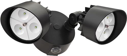 Lithonia Lighting OFLR 6LC 120 P BZ Integrated LED 2-Light Outdoor Dusk to Dawn Security Flood Light ,Round, Black Bronze