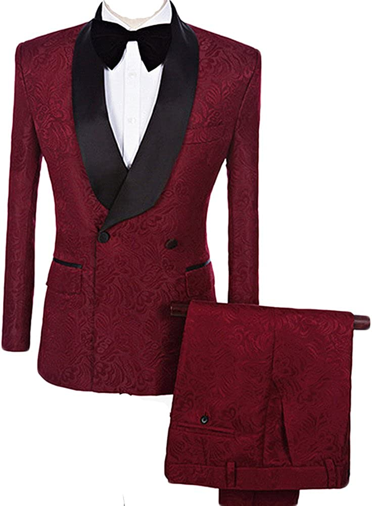 auguswu Double Breasted Jacquard Weave Mens Slim Fit Tuxedos Suits 2 Piece Sets AAUS-SUIT-13