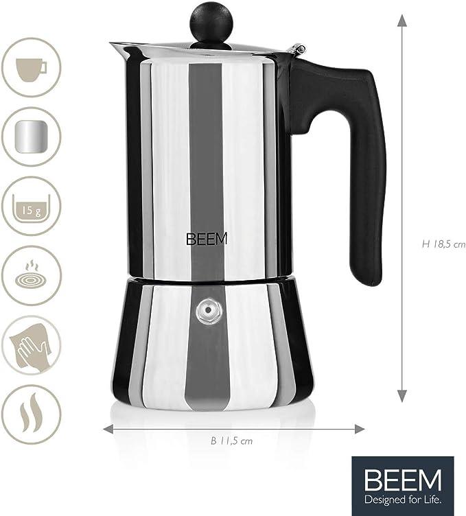 BEEM ESPRESSOMAKER – Cafetera expreso – 4 tazas Classic Selección hervidora de inducción de acero inoxidable – Tetera de espresso – Clásica: Amazon.es: Hogar