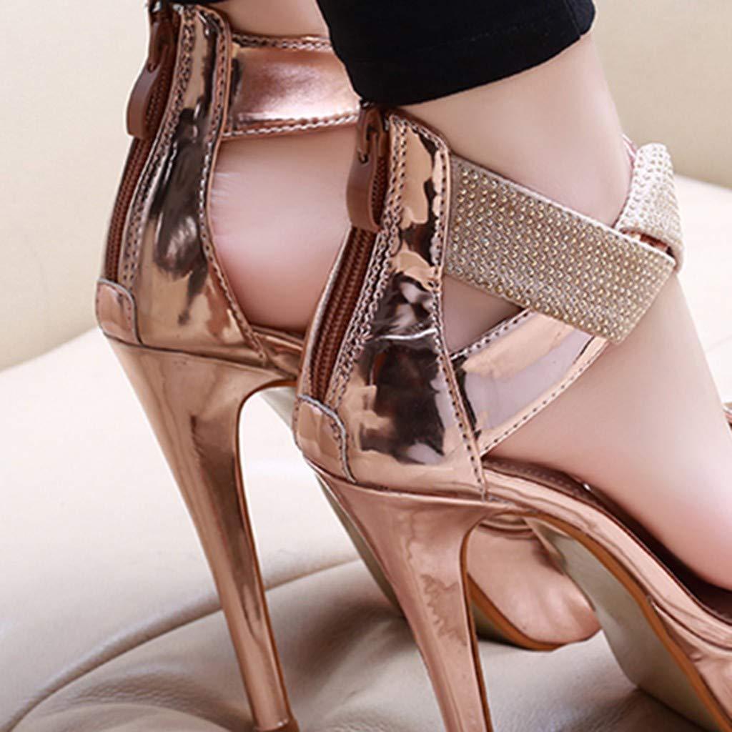 Orangeskycn Women Sandals Slip Pointed Toe Super High Heel Shoes Buckle Strap Gladiator Party Wedding Sandals Gold by Orangeskycn Women Sandals (Image #8)