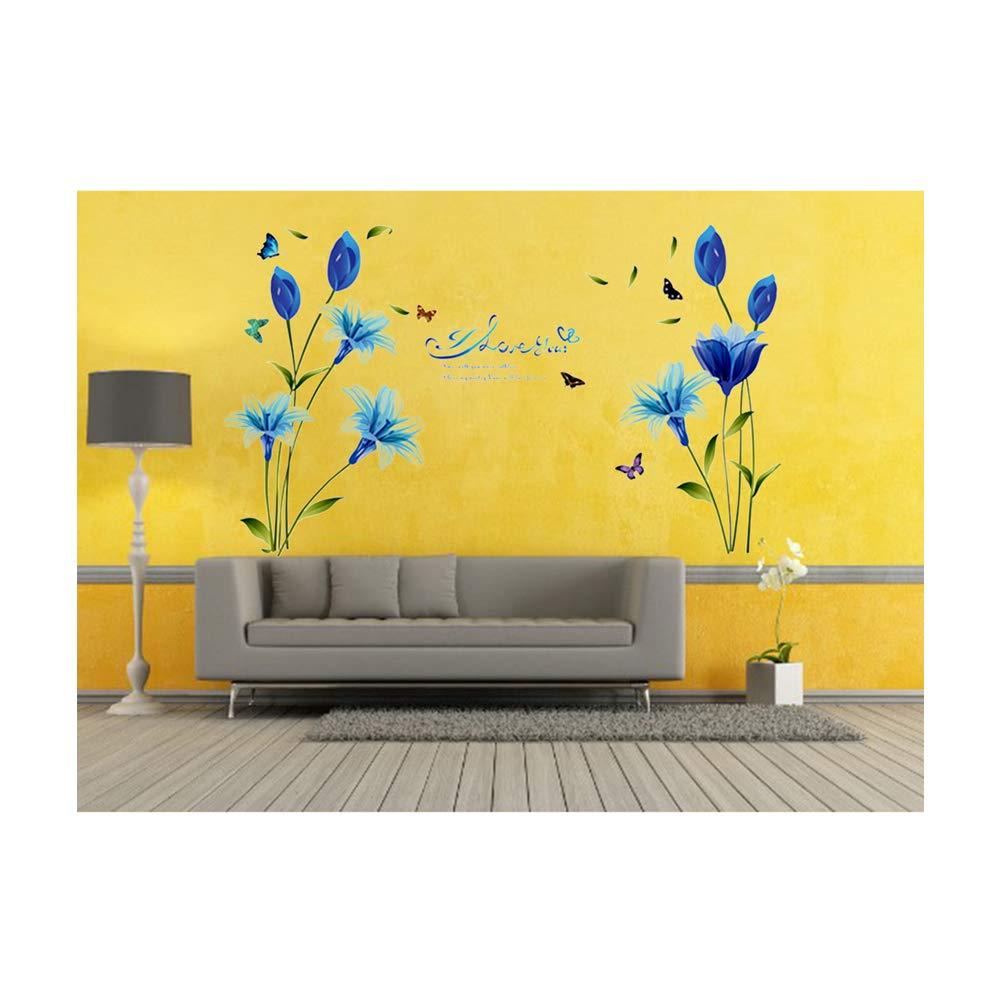 Blu giglio fiori con la farfalla decalcomanie della parete fai da te rimovibile farfalla fiore Adesivi Tappezzerie per Decorazione Camera Soggiorno TV Sfondo della ragazza