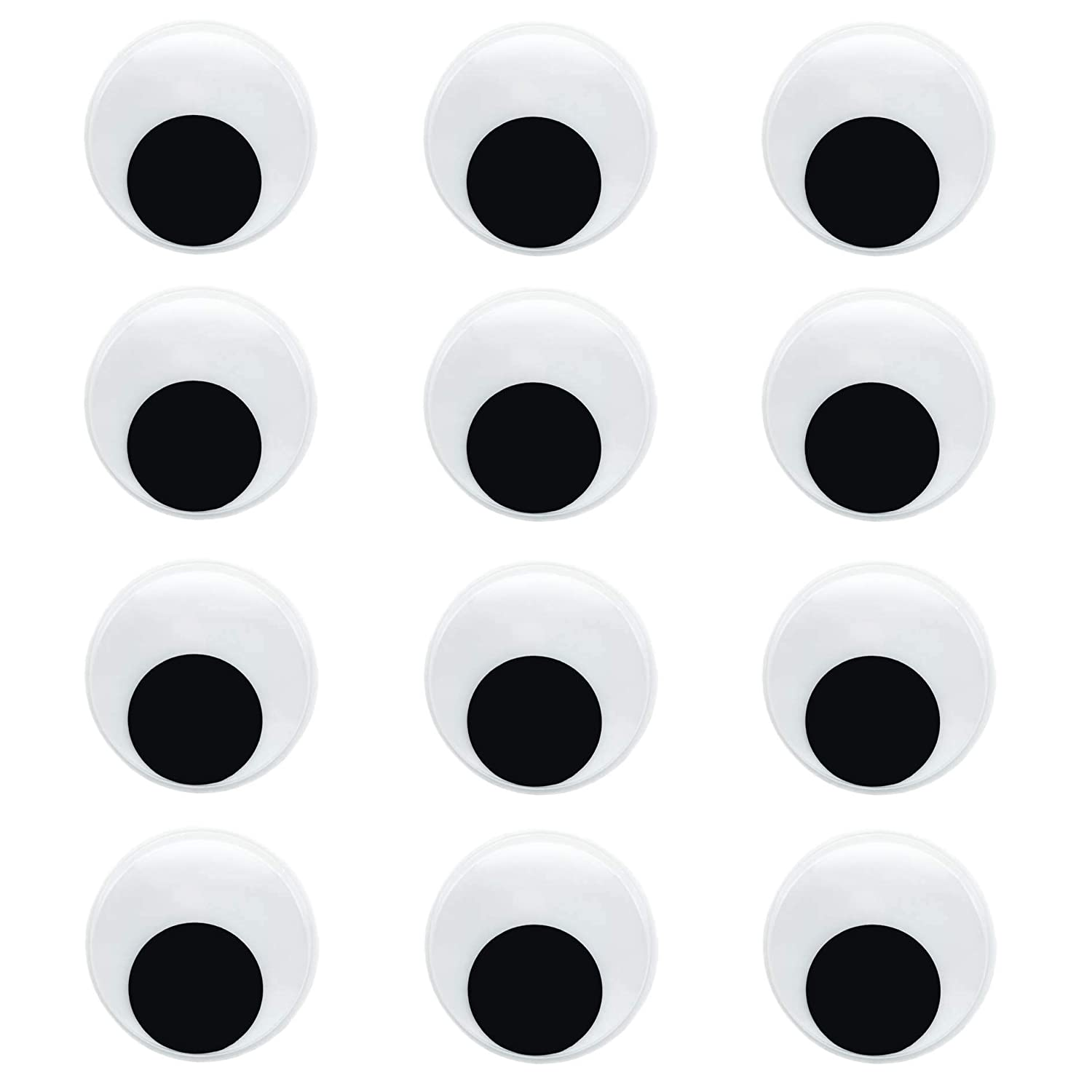 12 Pieces 2' Self-Adhesive Wiggly Eyes Googly Eyes for Craft Decorations Wiggle Googly Eyes for DIY Projects Arts and Craft Supplies JINJING