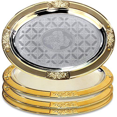 Maro Megastore (Pack of 4) 17.5-Inch x 12.8-Inch Oval Chrome Plated Serving Tray Gold Edge Floral Engraved Decorative Wedding Birthday Dessert Cake Snack Wine Candle Serving Platter 2160 Ts-119
