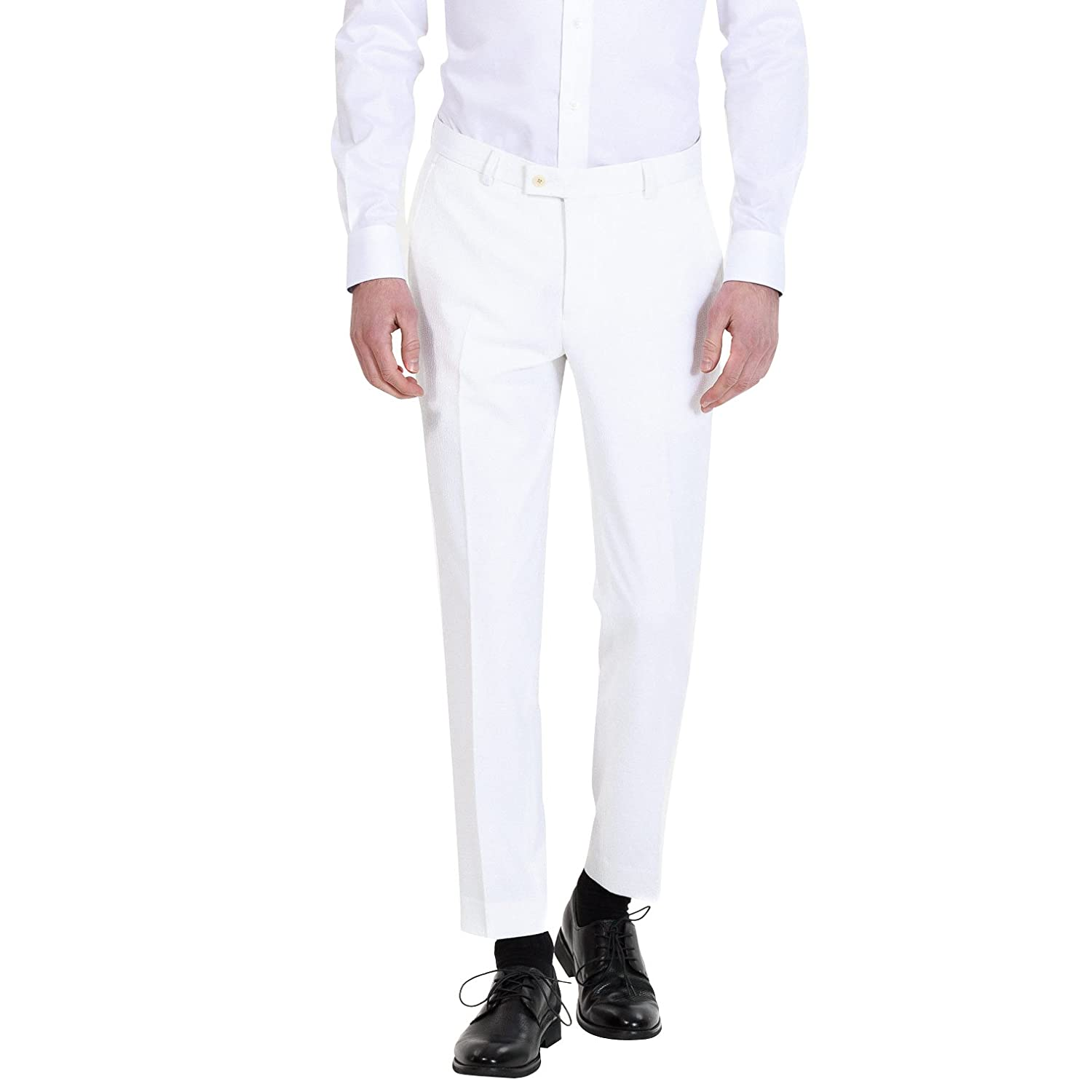 HBDesign Mens Formal Slim Fit Flat Front Straight Iron Free Trousers White HMP5031WH